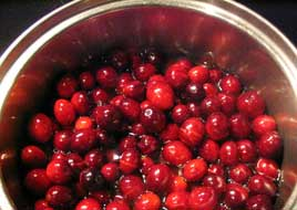 cranberries in saucepan