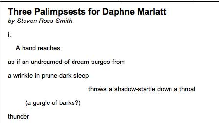poetry sample of  Steven Ross Smith, as if an undreamed-of dream surges from/a wrinkle in prune-dark sleep