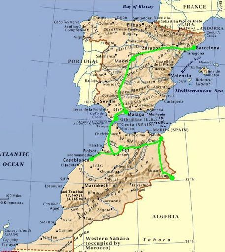 Map Of Spain Gibraltar And Morocco.Map Of Spain And Morocco Imsa Kolese